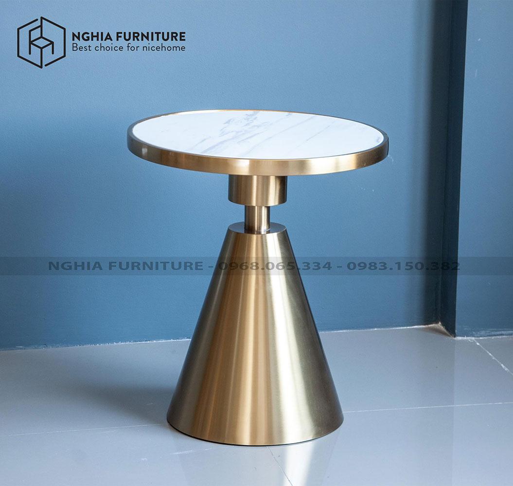 Bàn cafe Aluminum table 07 + mặt đá