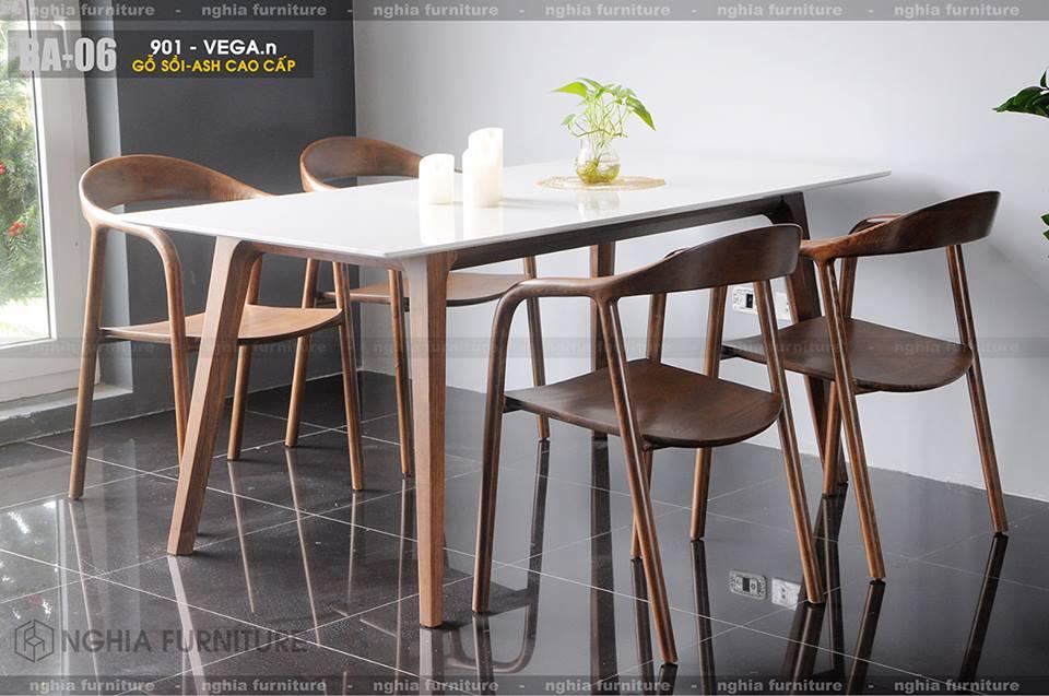 Bàn ghế ăn gỗ Marvel-Neva-Mặt đá 1m6