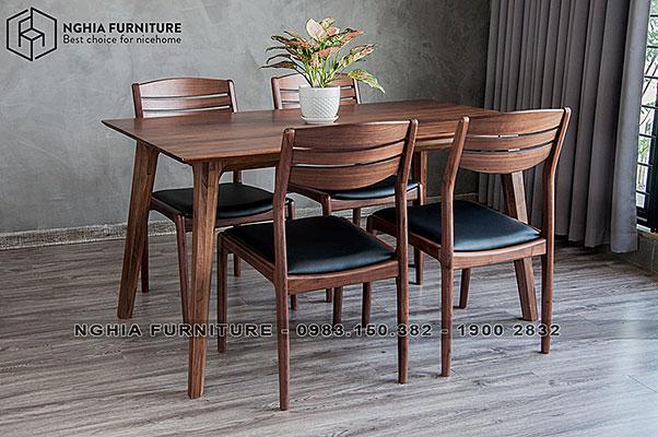 Bàn ghế ăn gỗ óc chó Marvel-Vega 1m4