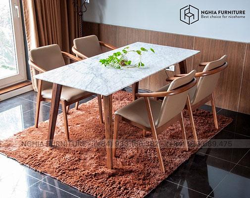 Bàn ghế ăn mặt đá - HF2012 1m65