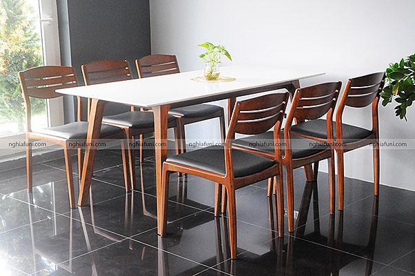 Bàn ghế ăn gỗ Ash mặt đá-Vega 1m9
