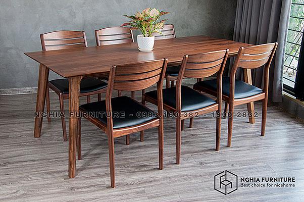 Bàn ghế ăn gỗ óc chó Marvel-Vega 1m9
