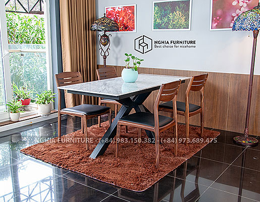 Bàn ghế ăn Slender 05-Vega-Mặt đá
