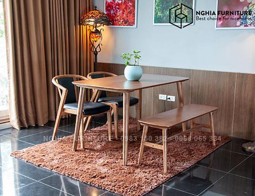 Bàn ghế ăn Smile-N3382-Băng Nhật 1m25