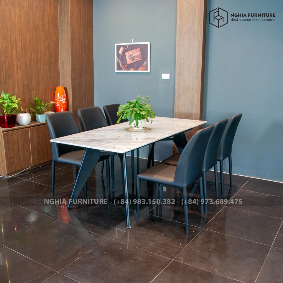 Bàn ghế ăn Slender 04-NF2-Mặt đá