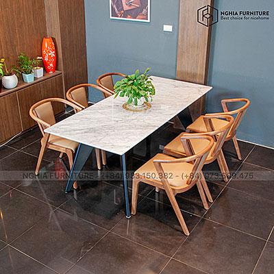 Bàn ghế ăn Slender 04-N3382-Mặt đá