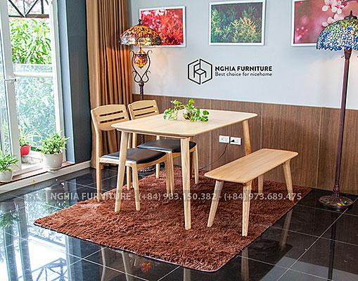 Bàn ghế ăn Simle-Vega-Băng new 1m25