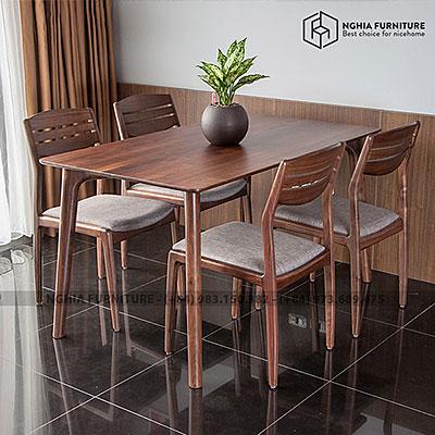 Bàn ghế ăn gỗ óc chó Classic-Vega 1m4
